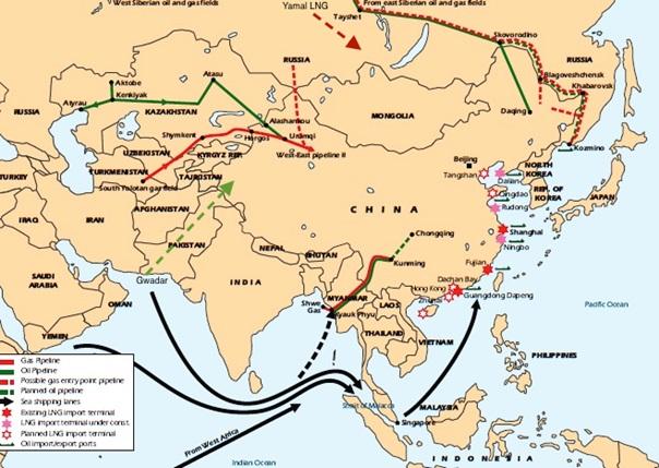 Approvisionnements énergétiques chinois - accroitre les flux continentaux pour diminuer la vulnérabilité maritime