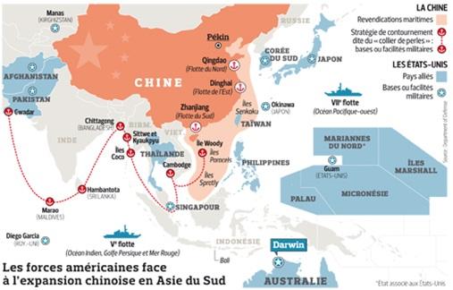 Le collier de perles chinois face à la présence américaine autour de la Chine.